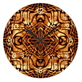 Burnt Orange Yellow Brown African Mosaic Pattern Large Clock
