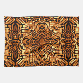 Burnt Orange Yellow Brown African Mosaic Pattern Tea Towel