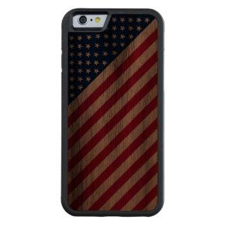 Burnt Red Blue White Stripes Stars iPhone6 Case Walnut iPhone 6 Bumper Case