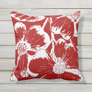 Burnt Red Dogwood Floral Throw Pillow