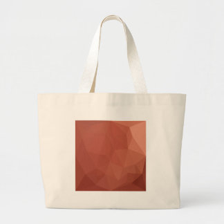 Burnt Sienna Orange Abstract Low Polygon Backgroun Large Tote Bag