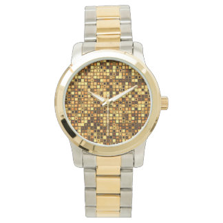 Burnt Terra Cotta Textured Mosaic Tiles Pattern Wrist Watches