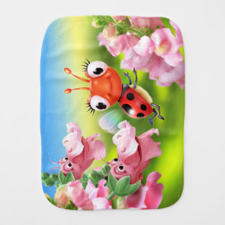 Burp cloth Ladybug friendly Snap Dragons