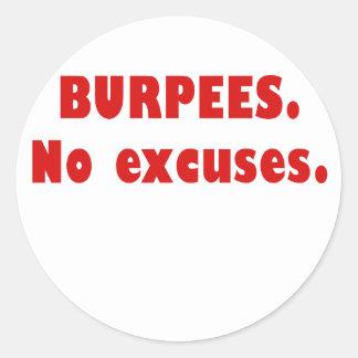 Burpees No Excuses Classic Round Sticker