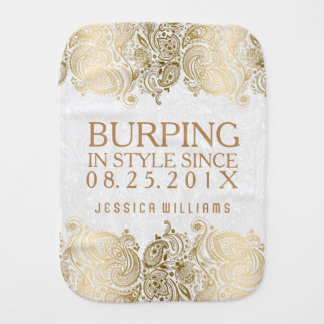 Burping In Style White & Gold Lace Burp Cloth