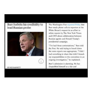 Burr Not Independent - News and Observer Postcard