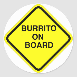 Burrito On Board Classic Round Sticker