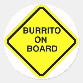 Burrito On Board Round Sticker