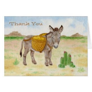 Burro with Basket thank you notecard