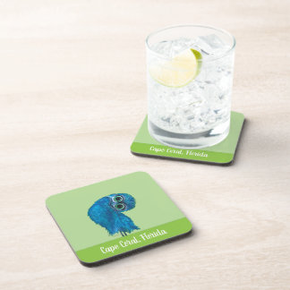 Burrowing Owl in Green and Blue Coaster