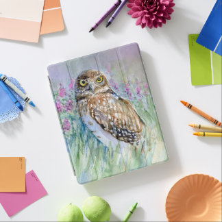 Burrowing owl watercolor iPad cover