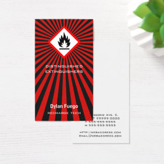 Burst Into Flames flammable symbol design Business Card
