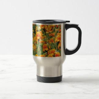 burst of orange color travel mug