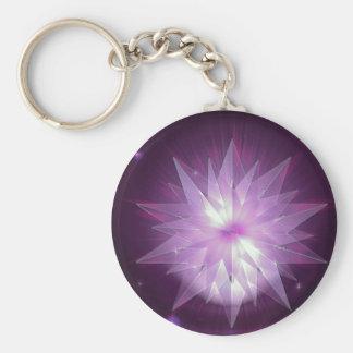 Burst of Purple Hope Basic Round Button Key Ring