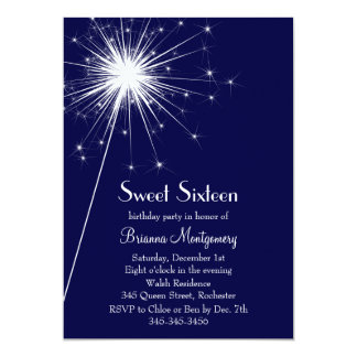 Burst of Sparkles Sweet Sixteen Invitation (blue)