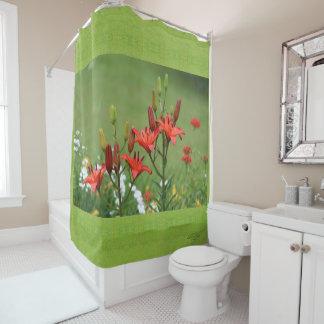 Burt Orange Asiatic Lilies Chartreuse green grass Shower Curtain