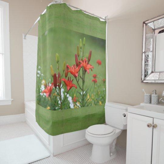 Burt Orange Asiatic Lilies Sage Shower Curtain