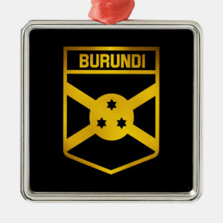 Burundi Emblem Silver-Colored Square Decoration