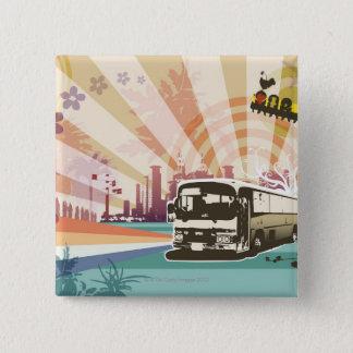 Bus 15 Cm Square Badge