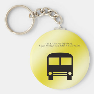 Bus Aide A Good Morning Smile Black Bus Basic Round Button Key Ring