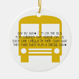 Bus Aide Day By Day Yellow Bus Ceramic Ornament