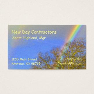 Bus. Card - Double Rainbow over Trees