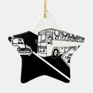 Bus Cartoon 3251 Ceramic Ornament