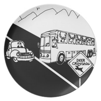 Bus Cartoon 3251 Party Plate
