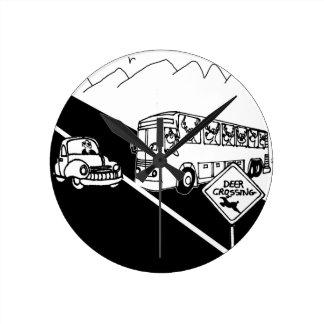 Bus Cartoon 3251 Round Clock