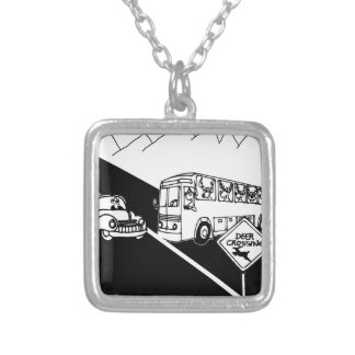Bus Cartoon 3251 Silver Plated Necklace