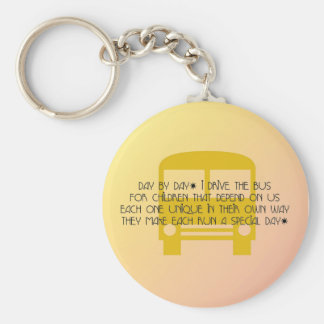 Bus Driver Day By Day Yellow Bus Basic Round Button Key Ring