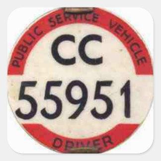 BUS DRIVER UK BADGE RETRO SQUARE STICKER