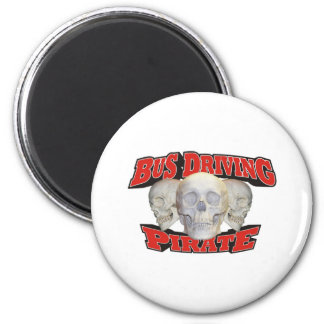 Bus Driving Pirate 6 Cm Round Magnet