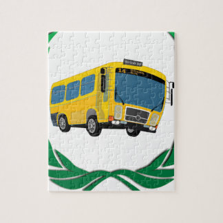 bus in green jigsaw puzzle