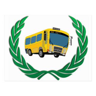 bus in green postcard