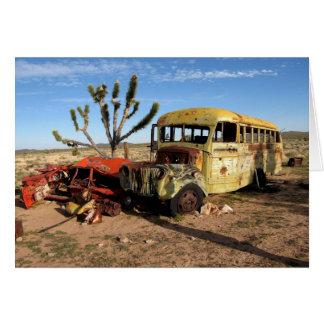 Bus in Mojave Desert Greeting Card