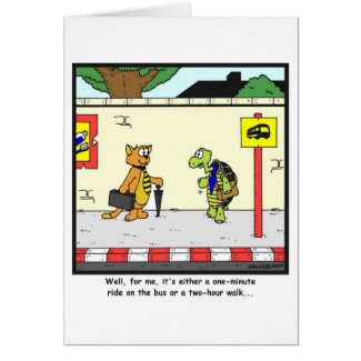 Bus Ride: Tortoise cartoon Card