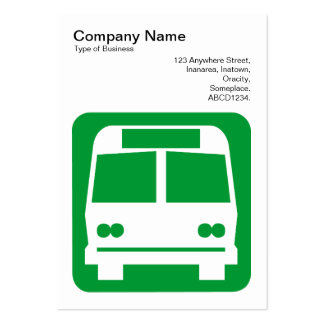 Bus Sign - Grass Green on White Business Card Templates
