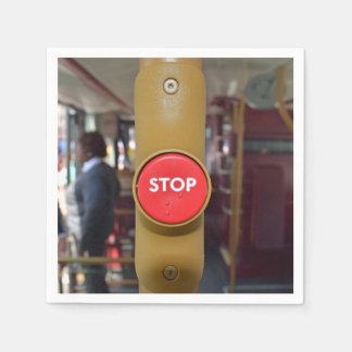 Bus stop button paper napkin