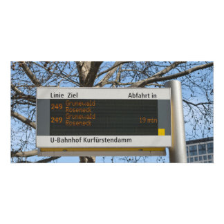 Bus Stop Sign in Berlin Photo Cards