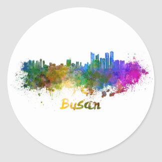 Busan skyline in watercolor classic round sticker