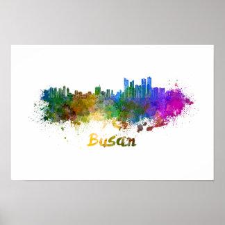 Busan skyline in watercolor poster