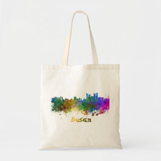 Busan skyline in watercolor tote bag