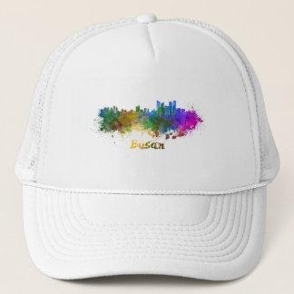 Busan skyline in watercolor trucker hat