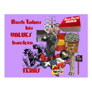 Bush Values - Political Satire for Anti Bush fans Postcard