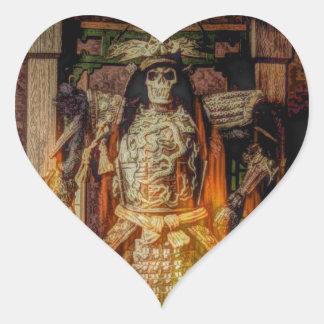 bushido Japanese samurai armor samurai skull Heart Sticker