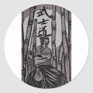 Bushido Moon light Classic Round Sticker