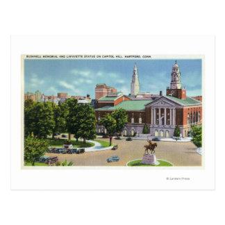 Bushnell Memorial, Lafayette Statue Postcard