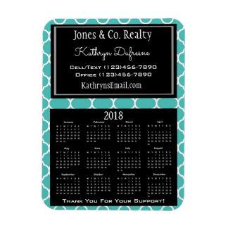 Business 2018 Calendar Teal Magnet