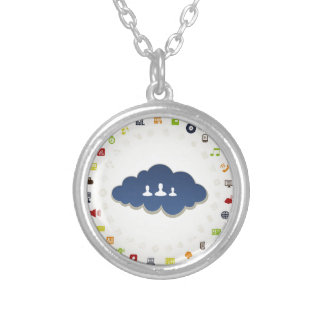 Business a cloud silver plated necklace